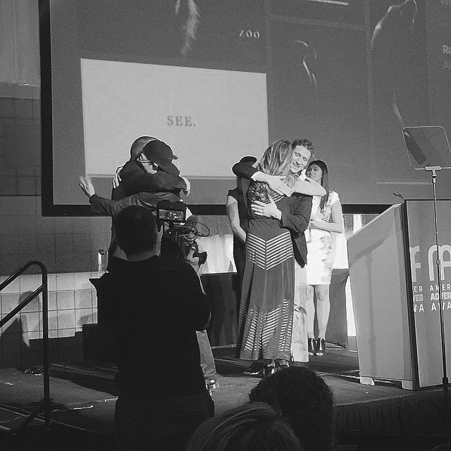 Betsy Traub captured things just perfectly in this photograph of Rachel and I getting our congratulatory hugs from Greg Shainman and Tim Winter.