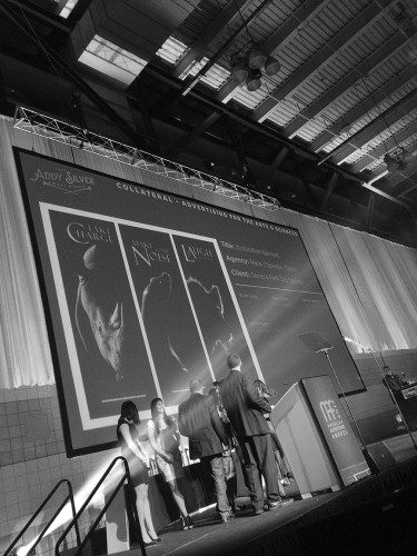 On the event stage, receiving the Silver Addy for the Zoobilation 2014 banner series that was a component of the whole campaign. Photo by T.C. Pellett